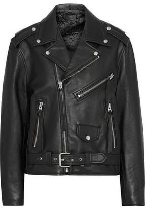 Nili Lotan Rebel Fringe-trimmed Textured-leather Biker Jacket