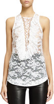 Givenchy Lace-Up Ruffled Bib Lace Top, White