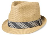 Bioworld Men's Fedora With Blue Linen Band - Straw