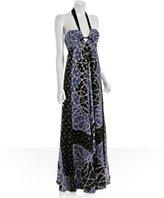 lilac lurex silk georgette halter maxi dress