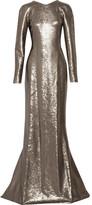 Kaufman Franco KAUFMANFRANCO Sequined Silk-Satin Gown