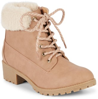 Mia Girl's Faux Fur-Trim Lace-Up Boots