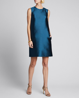 Carolina Herrera Silk Gazar Sleeveless Shift Dress