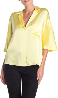 Vince Notch Collar Dolman Silk Blouse
