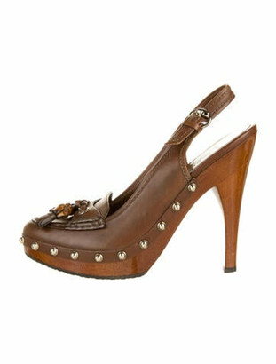 Gucci Leather Tassel Accents Slingback Pumps Brown