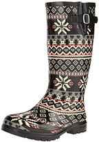 NOMAD Women's Puddles Rain Boot, Black/White Chevron, 7 M US