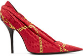Balenciaga Knife Jacquard And Leather Pumps - Red