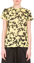 Proenza Schouler Floral Short-Sleeve Crewneck Tee, Yellow/Black Floral