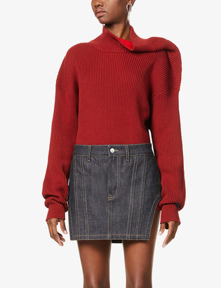 Y/Project Asymmetric cotton-blend knitted jumper