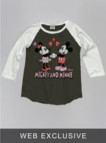 Junk Food Clothing Kids Girls Mickey And Minnie Mouse Raglan-bw/su-s