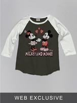 Junk Food Clothing Kids Girls Mickey And Minnie Mouse Raglan-bw/su-xl