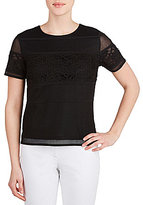 Peter Nygard Mesh and Lace Panel Blouse