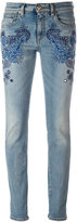 Roberto Cavalli embroidered vintage effect skinny jeans