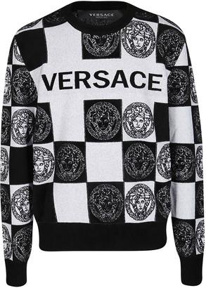 Versace Black An White Viscose Blend Sweatshirt