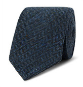 Drakes Drake's - 8cm Herrinbgone Wool-tweed Tie - Navy