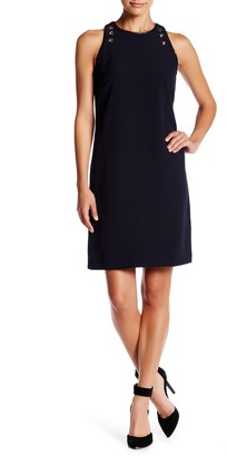 Julia Jordan Sleeveless Faux Leather Trim Dress