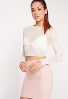 Missguided Mesh Beaded Crop Top White