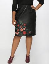 ELOQUII Plus Size Studio Faux Leather Applique Skirt