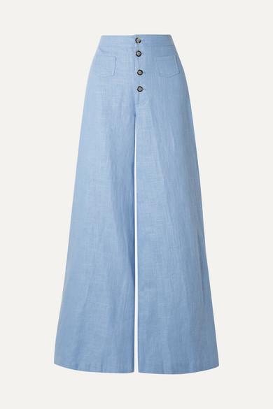 STAUD Martin Linen-blend Wide-leg Pants - Sky blue