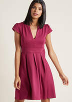 ModCloth Meet Me at the Punch Bowl A-Line Dress in Berry in XL - Cap Knee Length