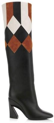 Salvatore Ferragamo Antea Patchwork Knee-High Leather Boots