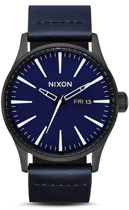 Nixon Sentry Blue Leather Watch, 42mm