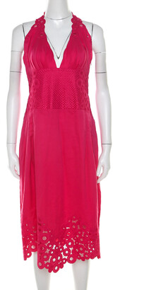 Catherine Malandrino Pink Cotton Eyelet Trim Detail Halter Dress M