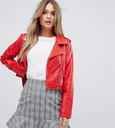 PrettyLittleThing Leather Look Biker Jacket