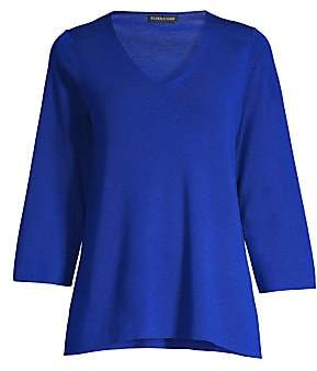Eileen Fisher Women's Three-Quarter V-Neck Merino Wool Sweater
