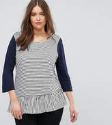 Junarose Stripe Jersey Top With Peplum Hem