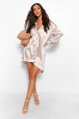 boohoo Tonal Stripe Satin Oversized Shirt Dress