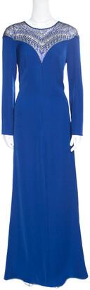 Tadashi Shoji Cobalt Blue Embellished Long Sleeve Slit Detail Katana Gown M