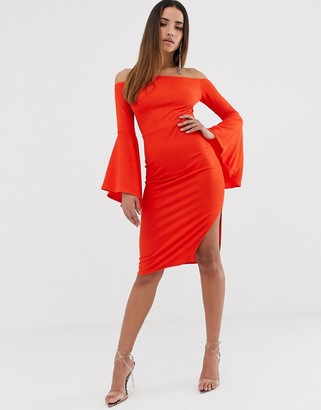 Club L London bardot ruffle sleeve midi dress