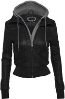 Hot From Hollywood Women's Faux Leather Zip Up Moto Jacket with Fleece Hoodie and Zipper Inset