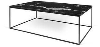 Brayden Studio Soltane Coffee Table Base Color: Black Lacquered Steel, Top Color: Black Marble