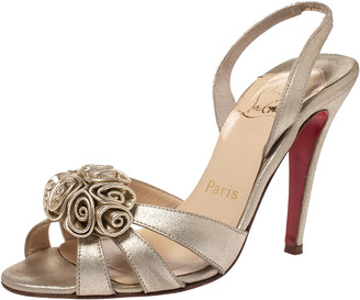 Christian Louboutin Gold Leather Rose Flower Detail Slingback Sandals Size 36