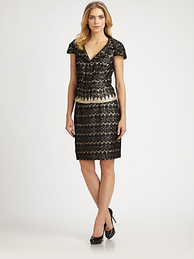 Kay Unger Lace-Sequin Skirt Suit