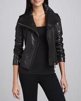 Elie Tahari Lisette Leather Motorcycle Jacket