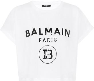 Balmain Logo cotton cropped T-shirt