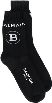Balmain Ribbed Logo Socks