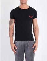Emporio Armani Reflective Eagle stretch-cotton t-shirt