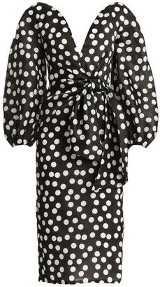 Carolina Herrera Polka Dot Puff-Sleeve Tie-Waist Sheath Dress