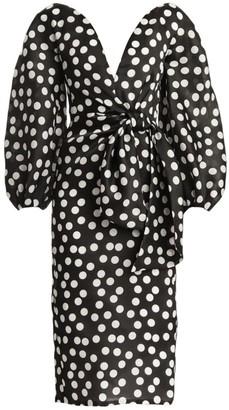 Carolina Herrera Polka Dot Puff-Sleeve Tie-Waist Sheath Dress