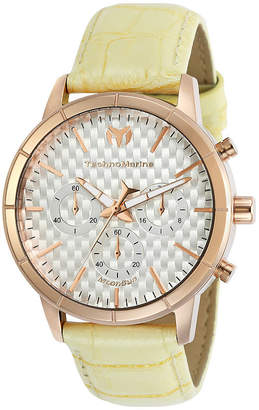 Technomarine TECHNO MARINE Techno Marine Moonsun Womens Chronograph Yellow Leather Strap Watch-Tm-117027