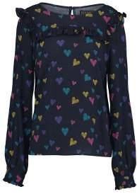 Sugarhill Boutique Jessie Scribble Hearts Frill Top - 14 - Blue