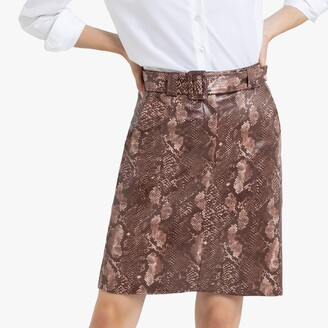 La Redoute Collections Faux Leather Straight Skirt in Snake Print
