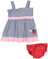 Sweet & Soft Blue Ladybug Seersucker A-Line Dress & Diaper Cover