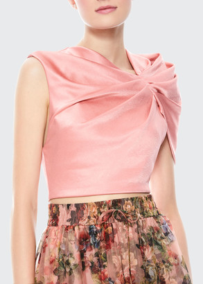 Alice + Olivia Ada Sleeveless Ruffle Fitted Crop Top