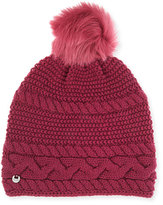 UGG Cable-Knit Beanie w/ Pompom, Bougainvillea