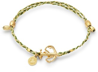 Alex and Ani 14K Gold Plated Sterling Silver & Thread Anchor Charm Adjustable Bracelet